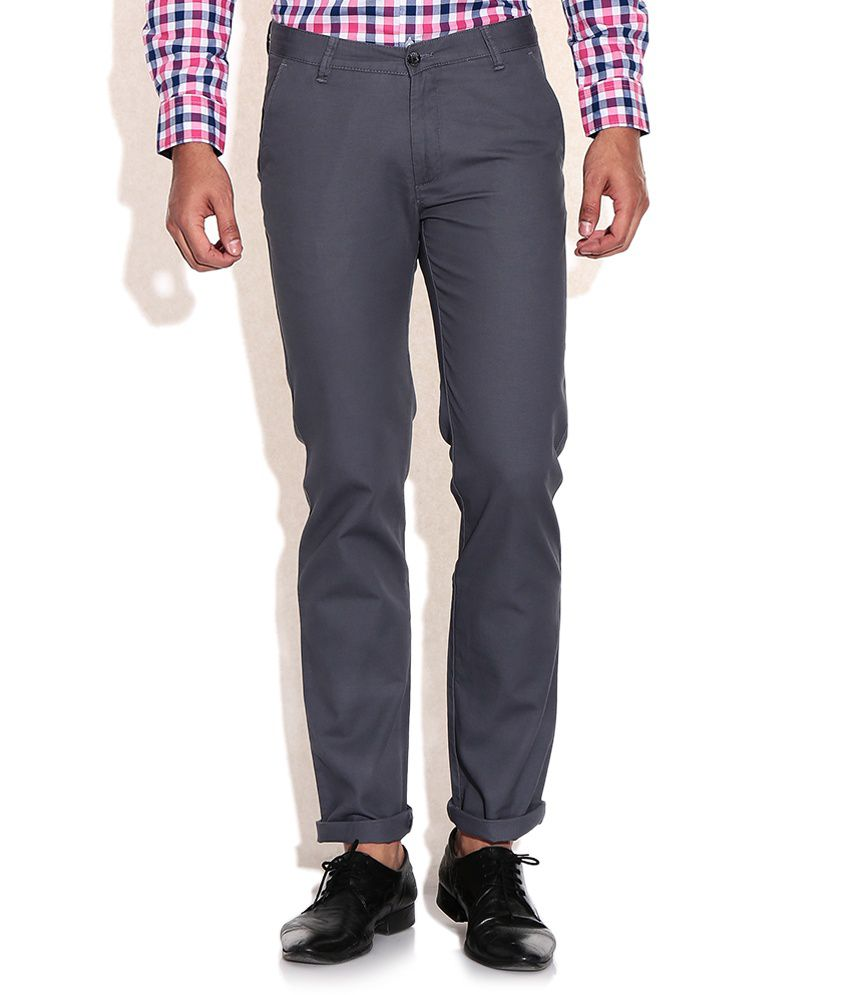 Arrow Sports Gray Slim Fit Casual Trousers