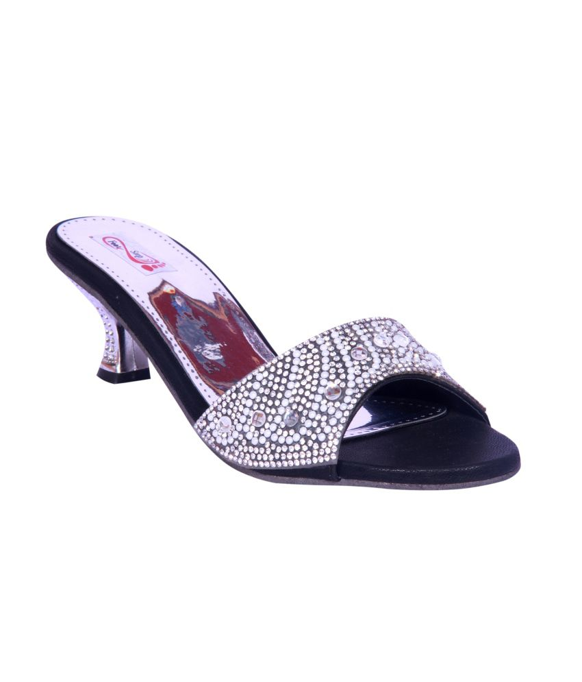 Foot Step Black Faux Leather Ethnic Heeled Slipon