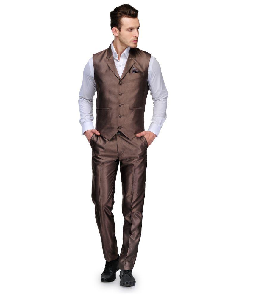 Platinum Studio Waist Coat Set Gold