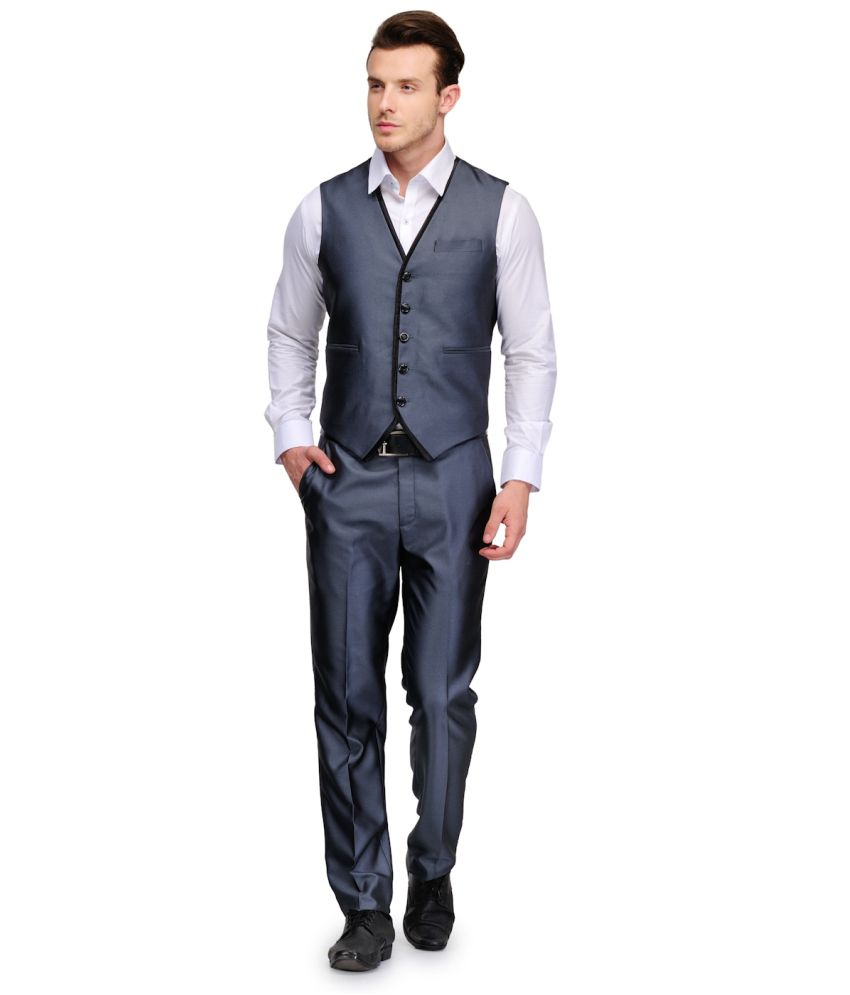 Platinum Studio Waist Coat Set Gray