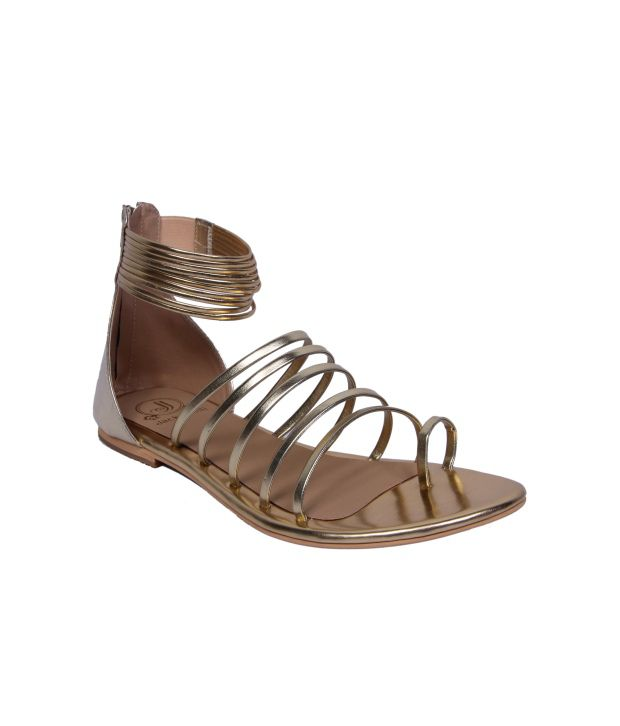 Jack And Jill Gold Faux Leather Sandal