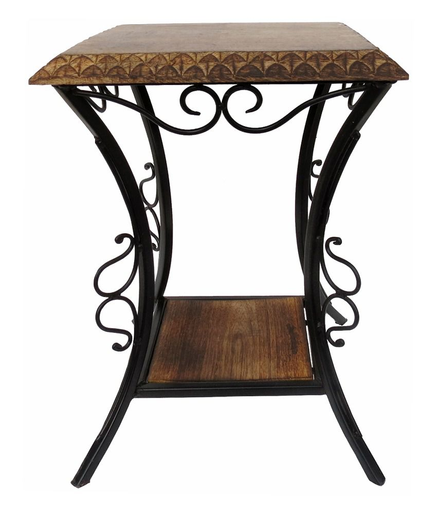 Pindia Fancy Wood & Wrought Iron Table Stool Desk