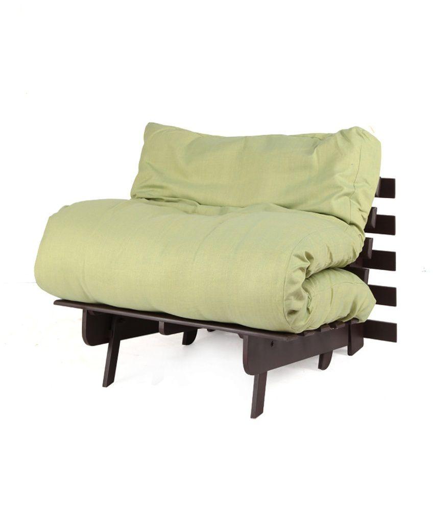 Single Futon Sofa Cum Bed With Green Mattress Buy Single