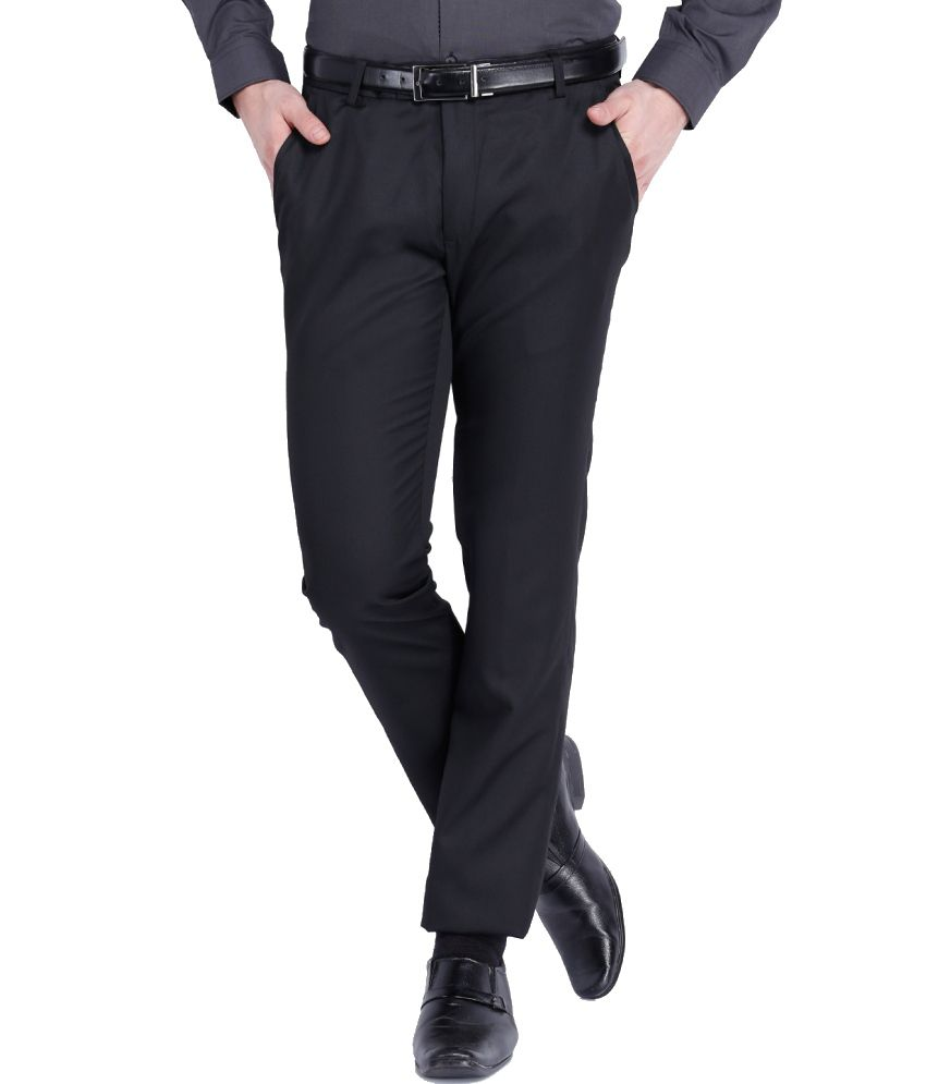 Black Coffee Black Regular Fit Formal Trouser