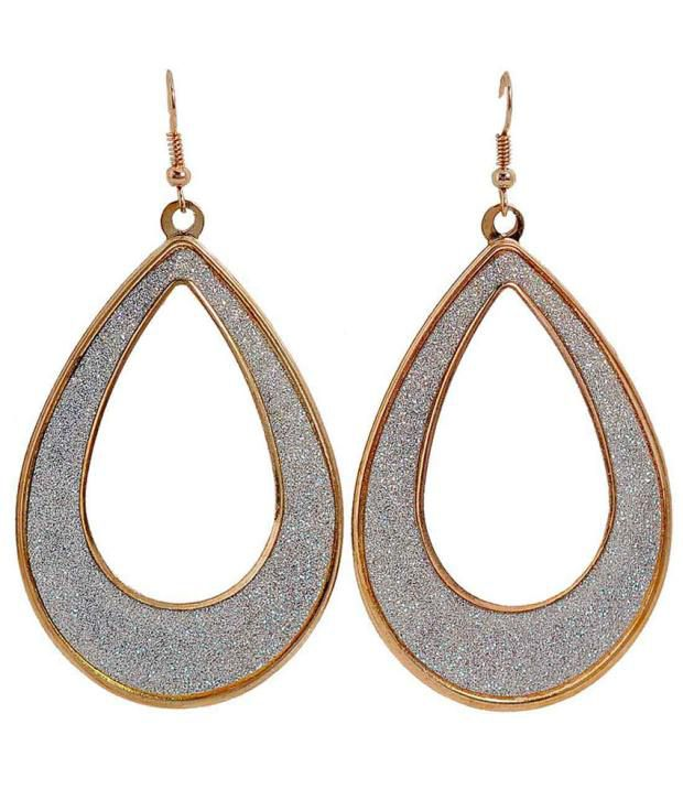 Maayra Silver And Golden Colour Spark Earrings