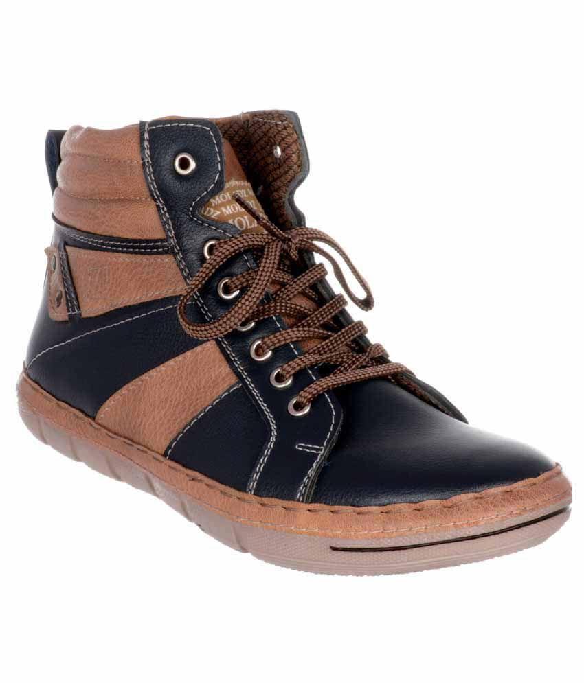 Moladz Blue Faux Leather Chukka Boot