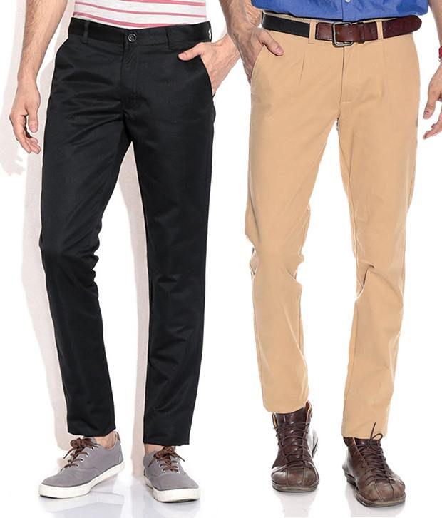Silver Streak Black & Beige Slim Fit Chinos Smart Combo of 2