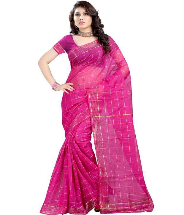 Harsh Fashions Purple Kota Doria Chettinad Cotton Saree