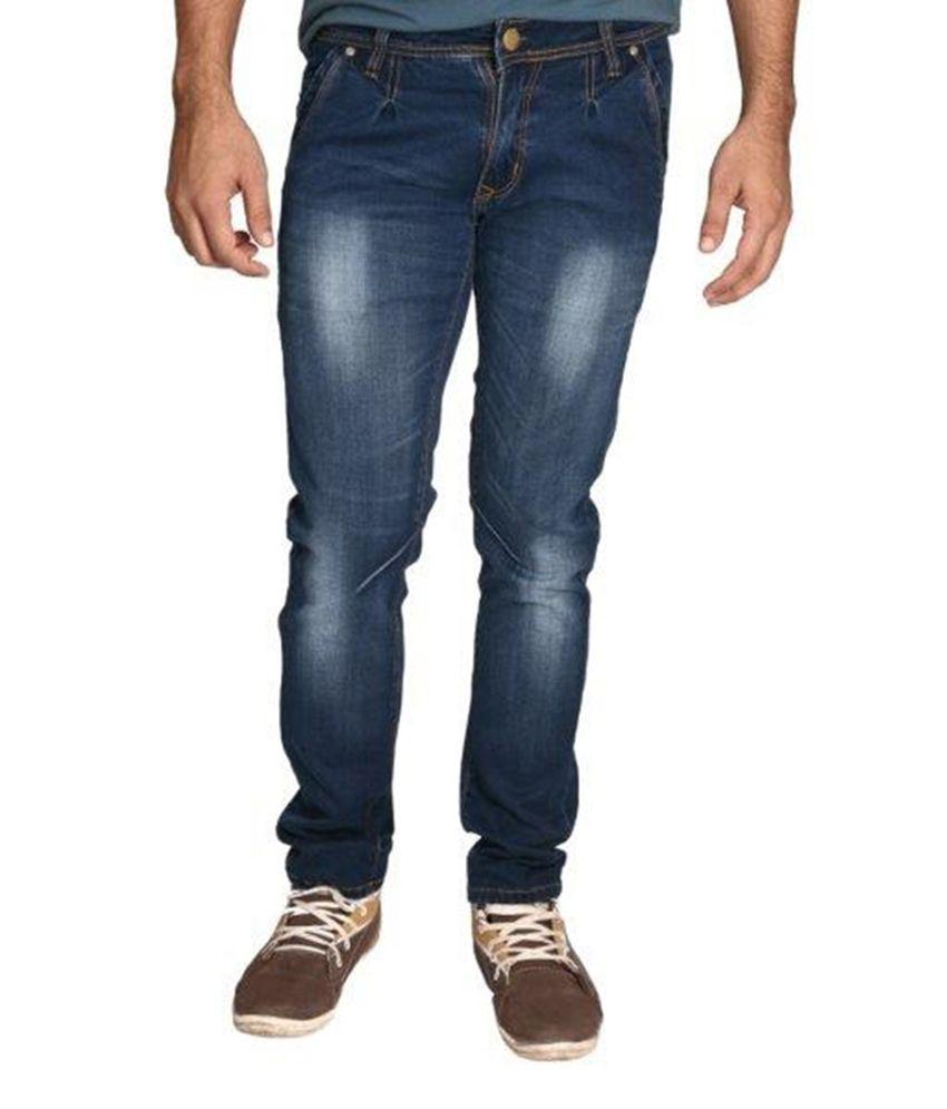 Paranoid Blue Cotton Blend Slim Fit Faded Jeans