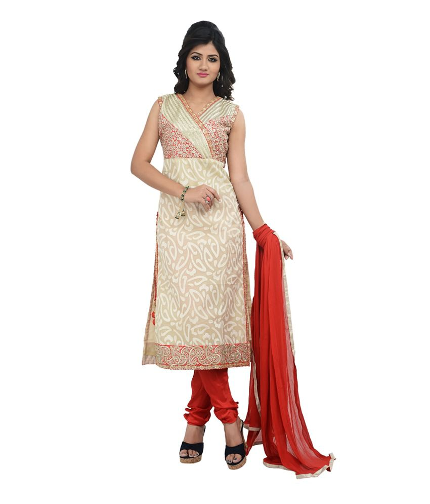 Fashions Beige Chanderi Semi Stitched Embroidered Salwar Suit