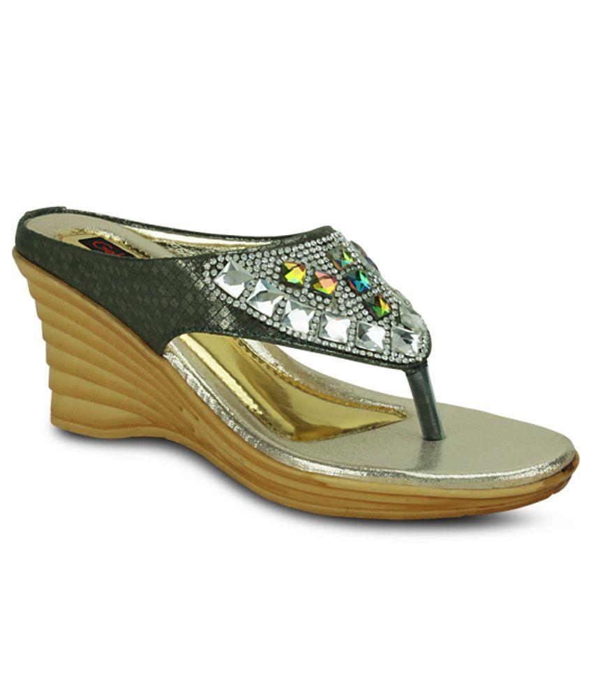 Get Glamr Fantastic Green Heeled Slip Ons