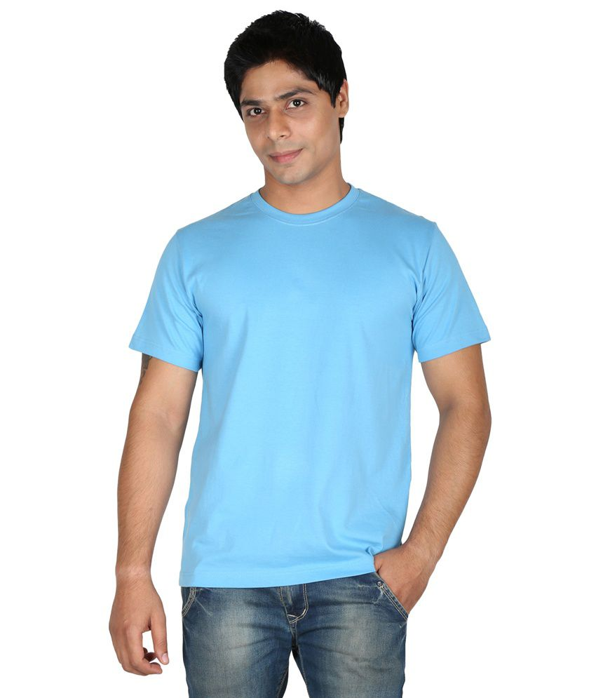 Trendster Blue Cotton Round Neck Half Sleeves T-Shirt