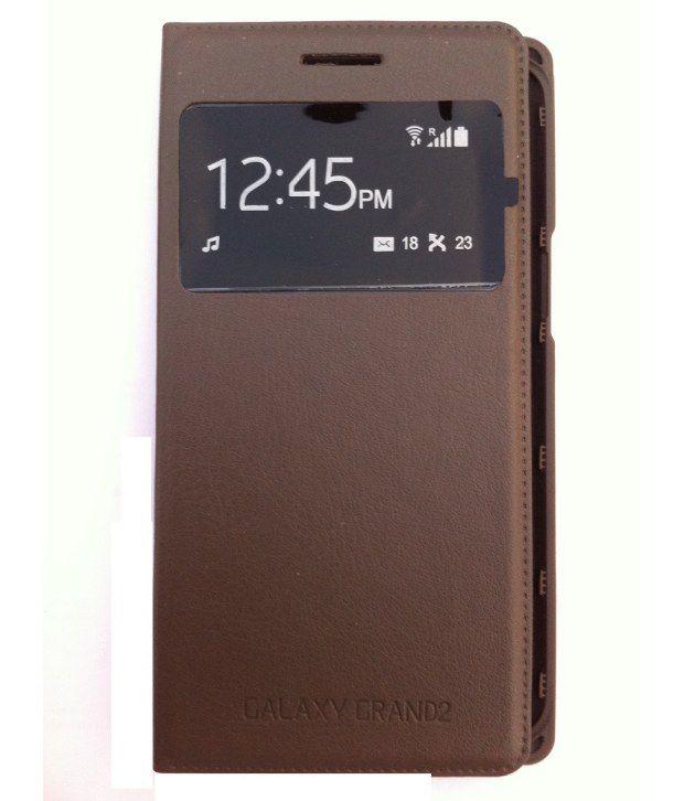 cheaper 82068 444ba YGS Premium Sensor Flip Cover Case For Samsung Galaxy Grand 2 G7102 -Brown