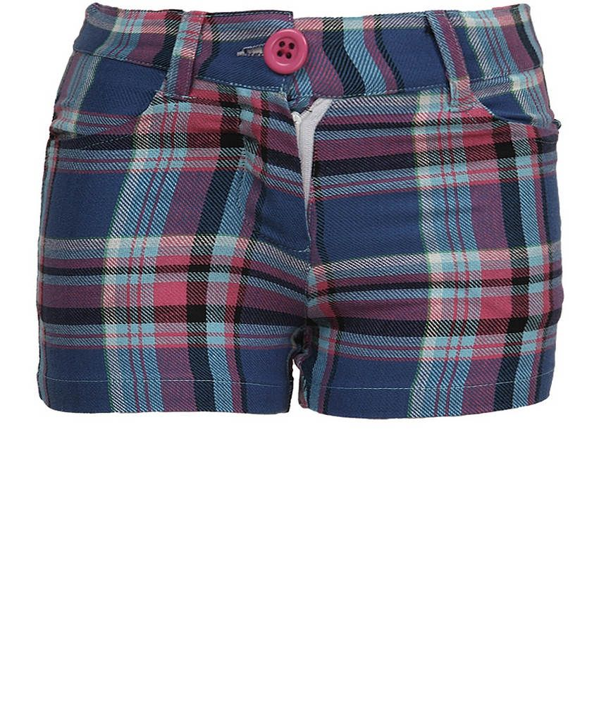 Dreamszone Blue & Pink Checks Shorts For Kids