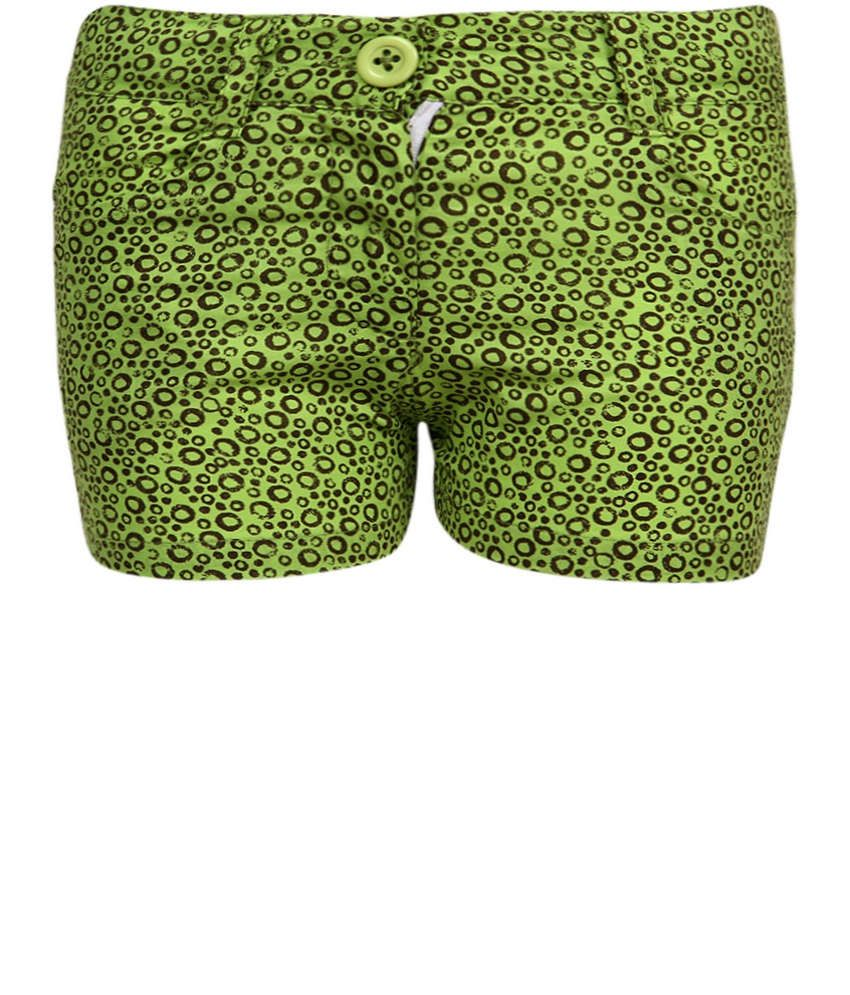 Dreamszone Lime Brown Printed Shorts For Kids