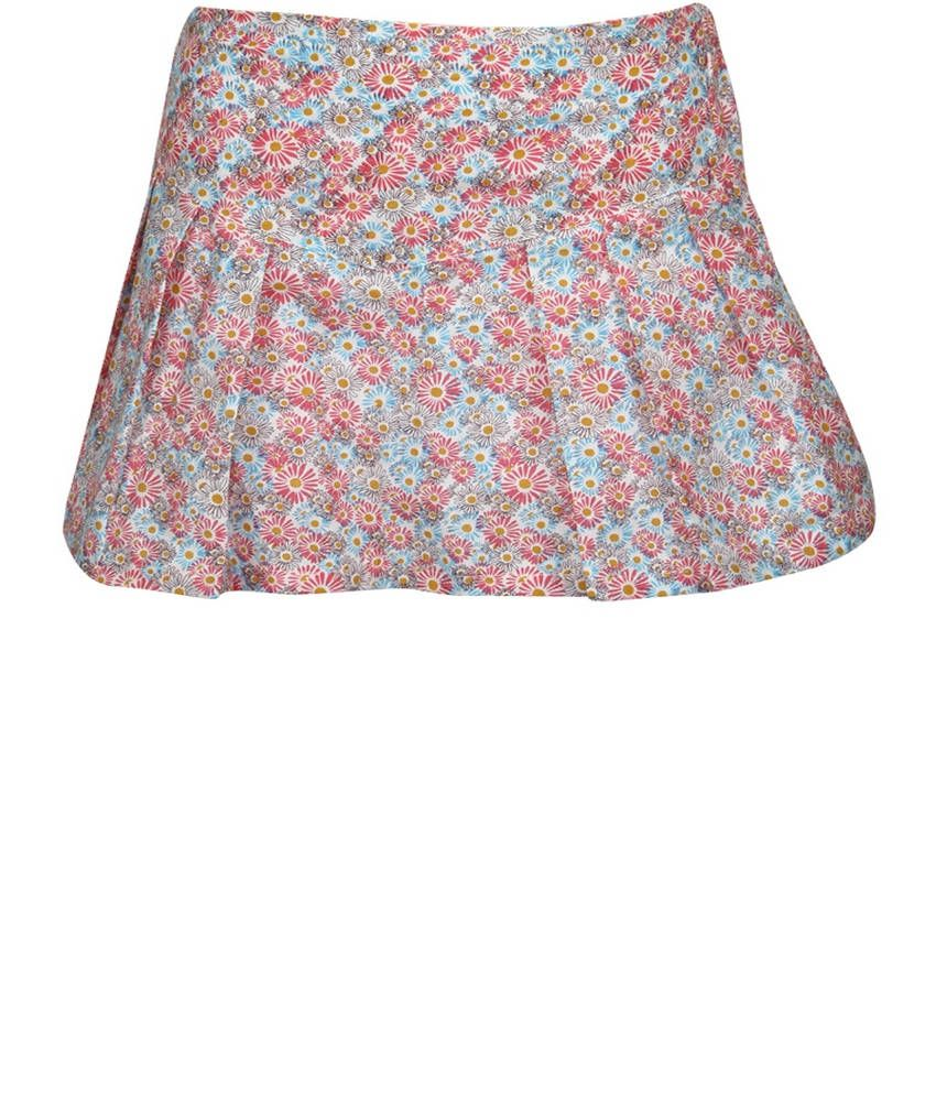 Dreamszone Pink & Blue Printed Skirts For Kids