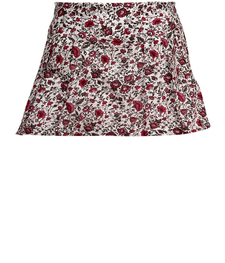 Dreamszone Red & Brown Printed Skirts For Kids