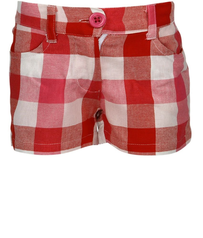 Dreamszone Red & Pink Checks Shorts For Kids