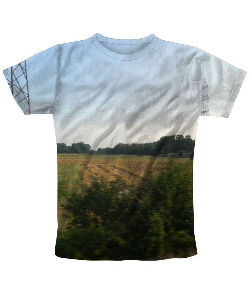 Freecultr Express White & Green Field Printed T Shirt