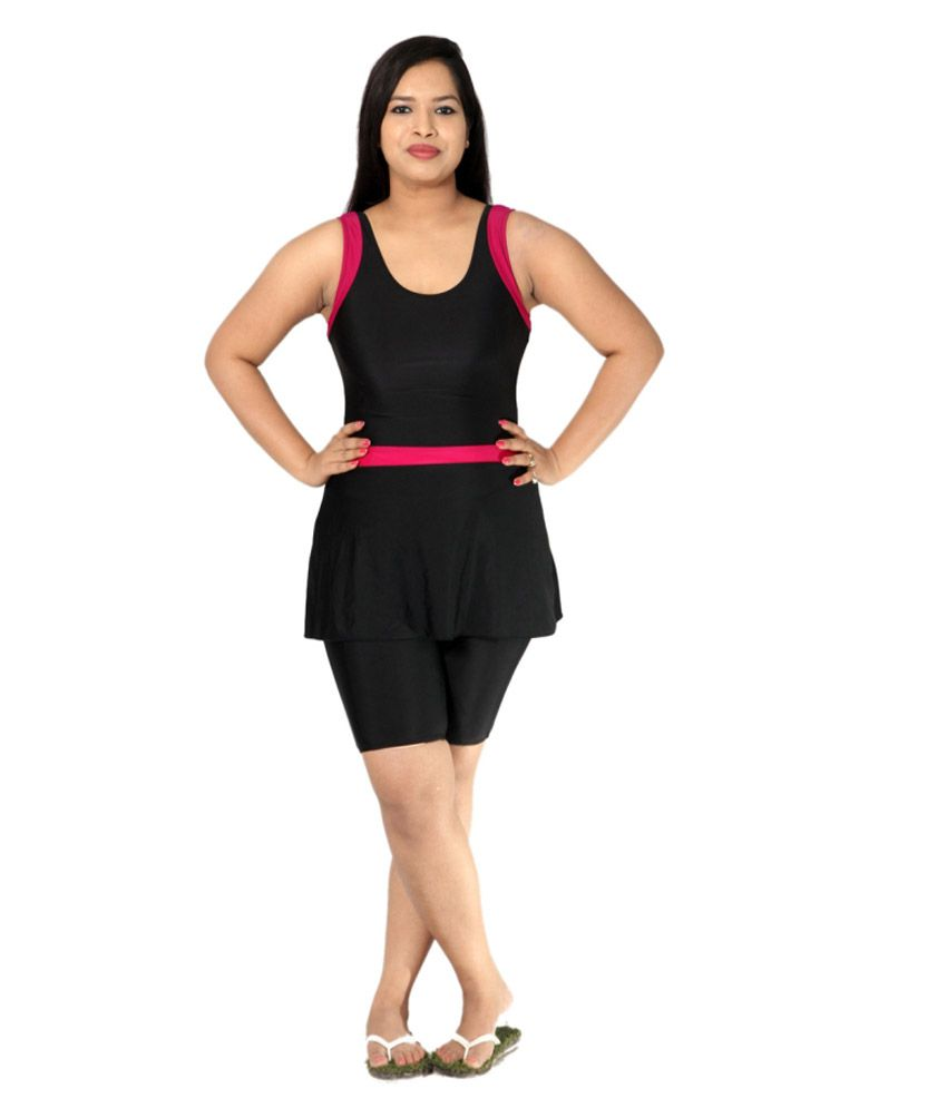 Indraprastha Black And Magenta Detailing Swimsuit With Extended Shorts/ Swimming Costume