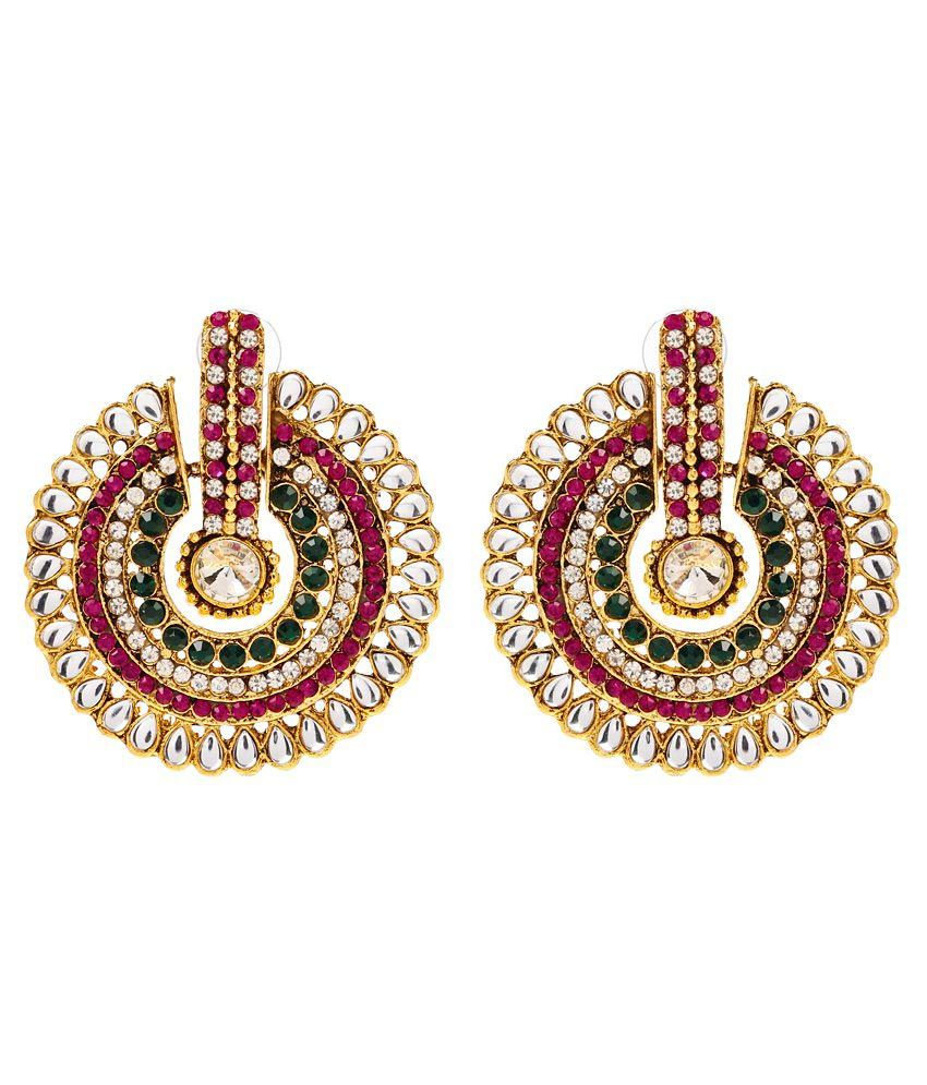 Multi Coloured Circular Elegant Earring by GoldNera