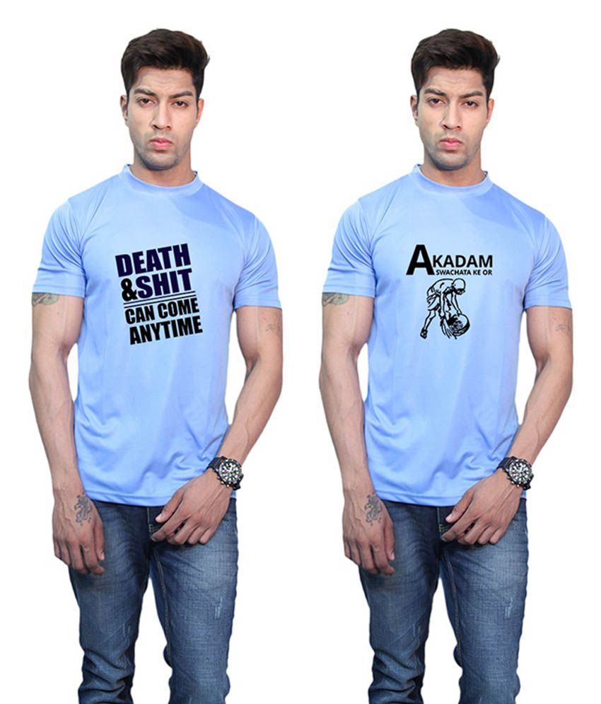 Printland Akadam and Death & Shit Printed Blue T-Shirt (Pack of 2)