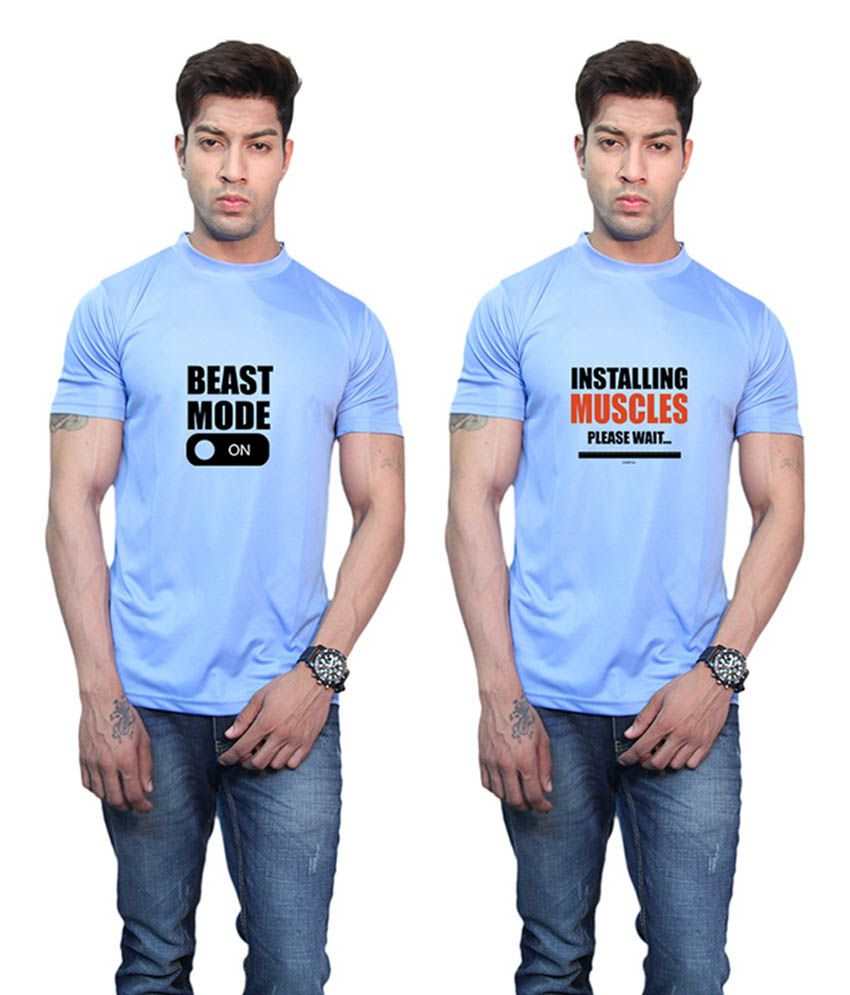 Printland Beast Mode On & Installing Muscles Printed Blue T-Shirt (Pack of 2)