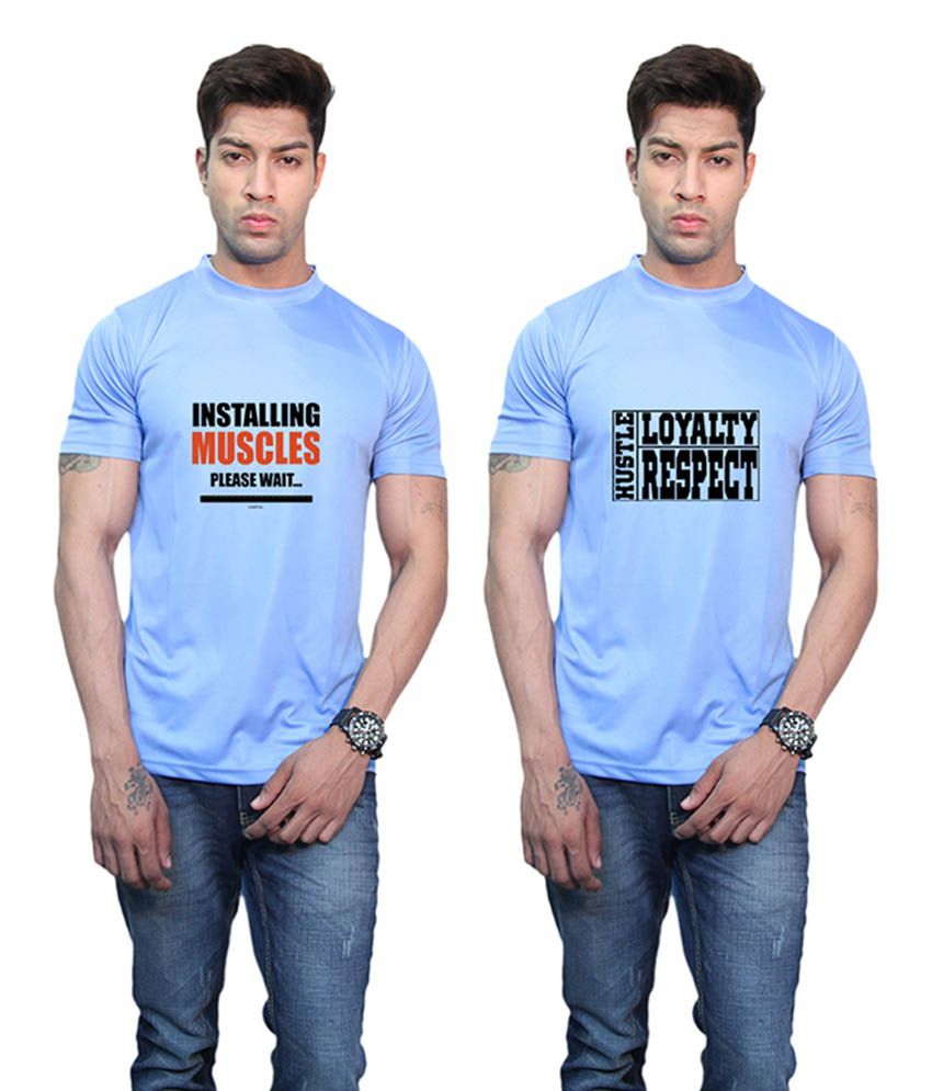 Printland Hustle Loyalty Respect & Installing Muscles Printed Blue T-Shirt (Pack of 2)