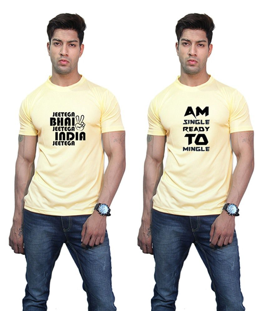 Printland India Jeetega & Am Single Printed Yellow T-Shirt (Pack of 2)