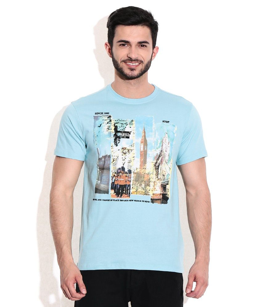 Stop By Shoppers Stop Mens Slim Fit Round Neck Printed T-Shirt