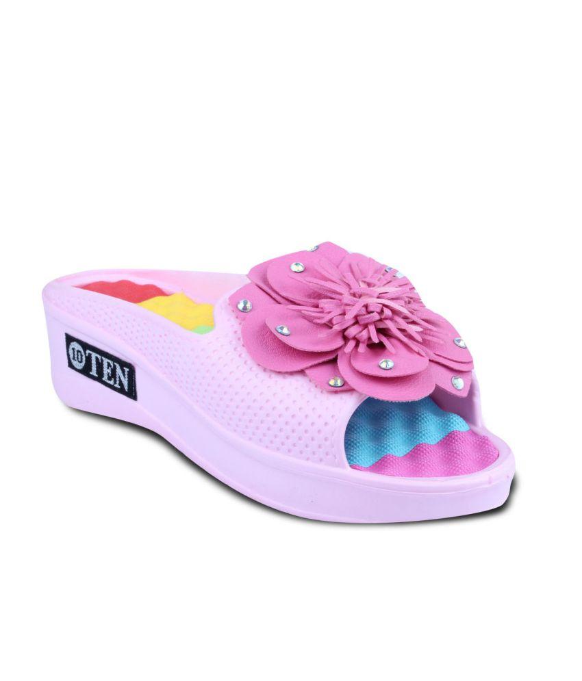 Ten Spotted Pink Flipflops For Women
