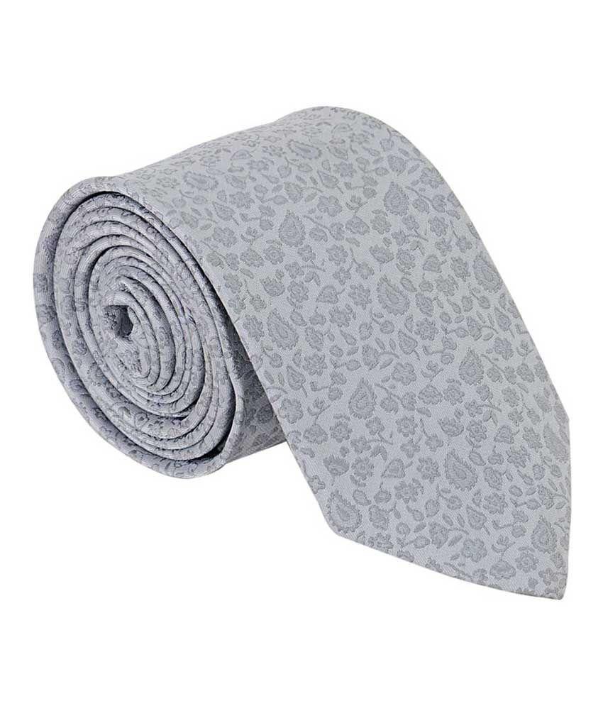Vermello Gray Micro Fiber Floral Formal Tie for Men