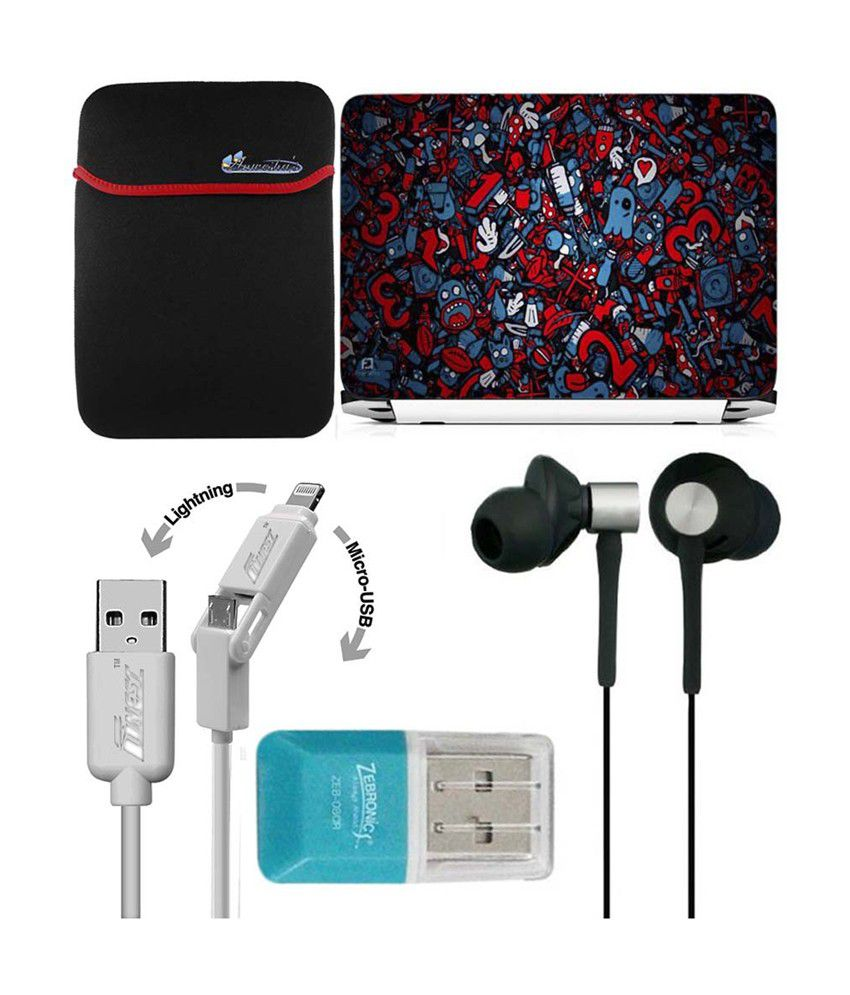 Anwesha's Laptop Sleeve with Lightning & Micro USB Cable, Ubon UB-85 Earphone, Card Reader and Laptop Skin - Cool Hd Design