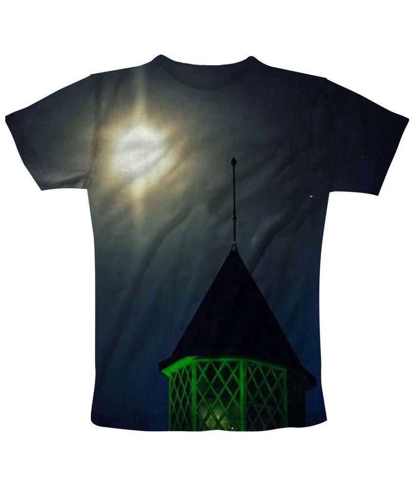 Freecultr Express Blue & Black Night Light Printed T Shirt
