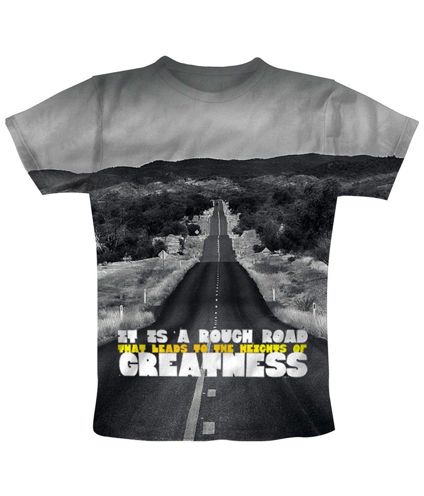 Freecultr Express Gray & White Rough Roads Printed T Shirt