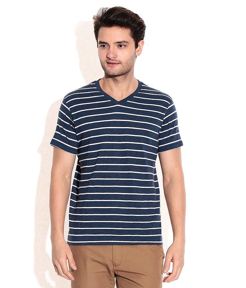 Indian Terrain Navy V-Neck T-Shirt