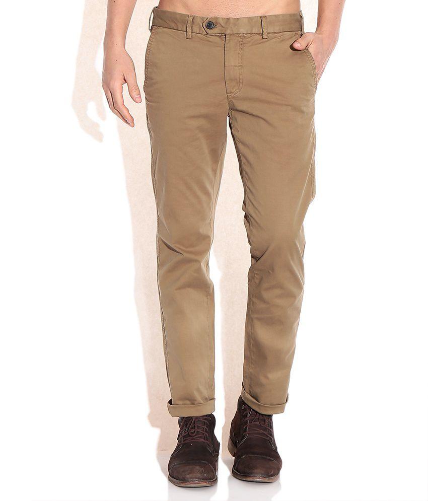 Indian Terrain Tan Brooklyn Fit Casual Trousers