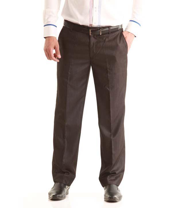 Jogur Brown Cotton Blend Trousers for Men's