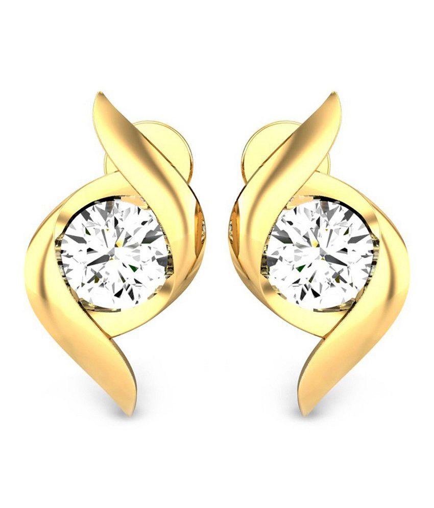 Samaira Gems & Jewels 14K Gold Solitaire Studs With Swarovski Diamonds