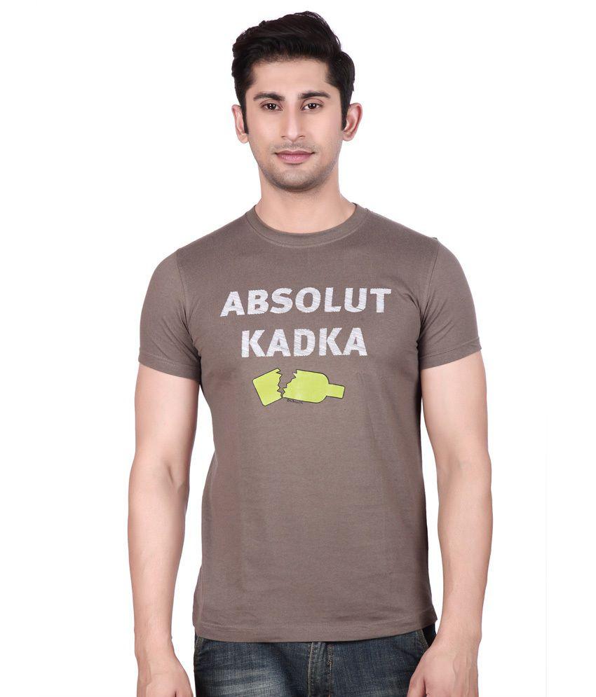 Big Mouth Khaki Cotton Round Neck T-shirt