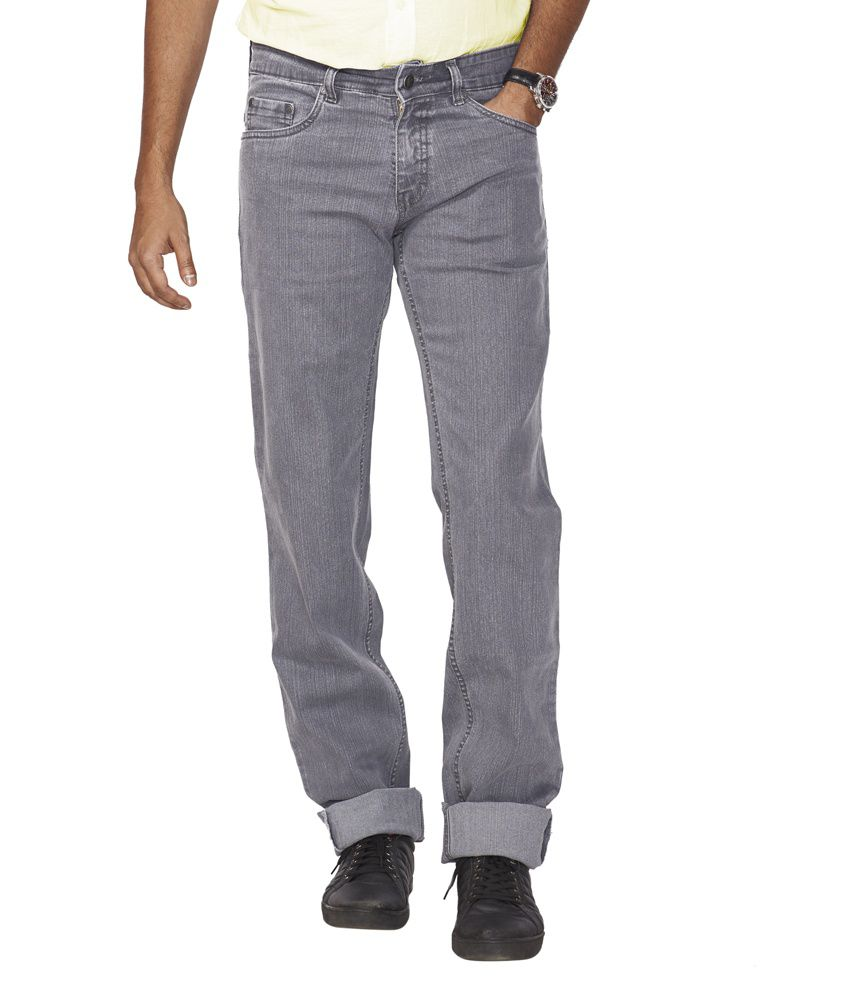 Flags Gray Cotton Blend Regular Fit Jeans