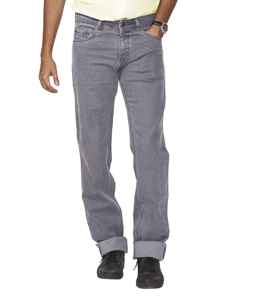 Flags Gray Cotton Blend Regular Fit Jeans
