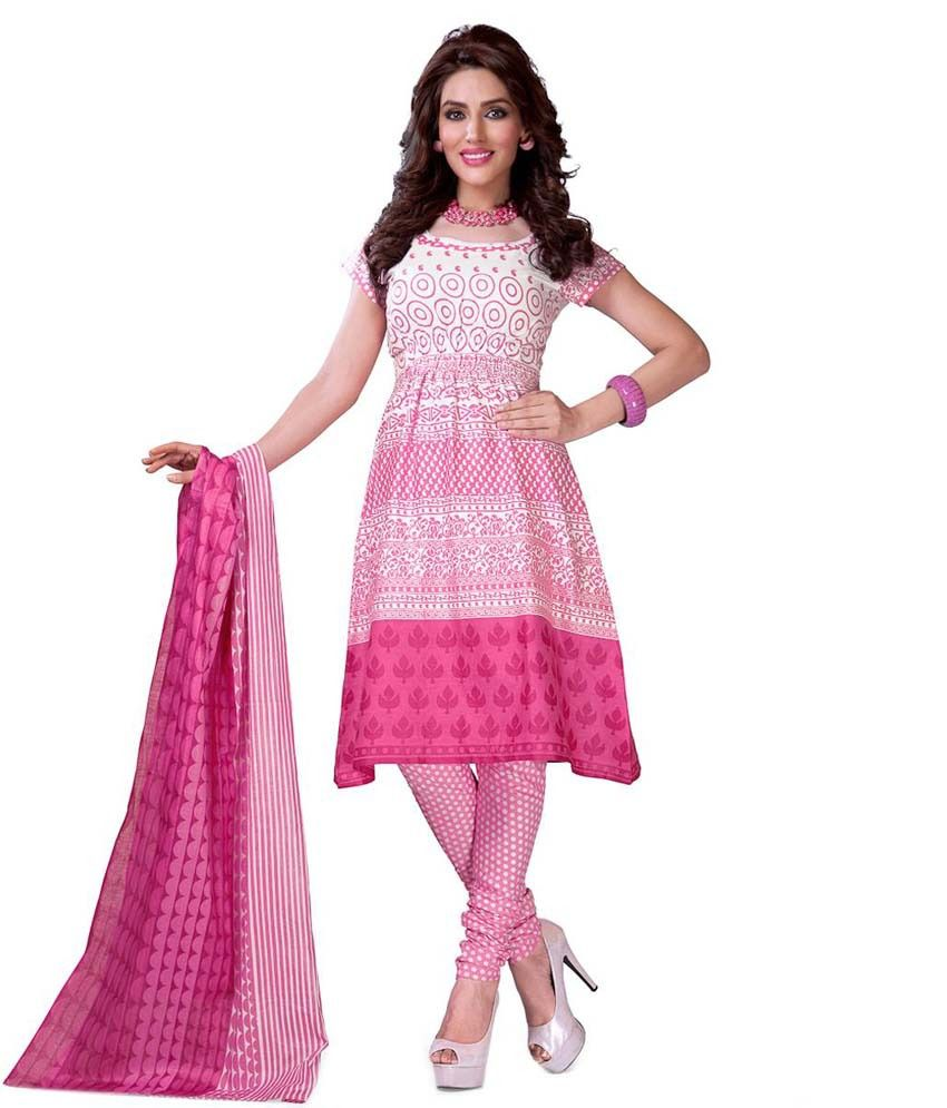 Creative Design Studio Pink Cotton Unstitched Dress Material