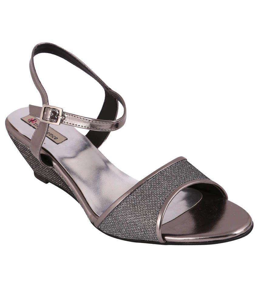 Indulgence Gray Peep Toe Small Back Strap Medium Heel Party Wear Wedges