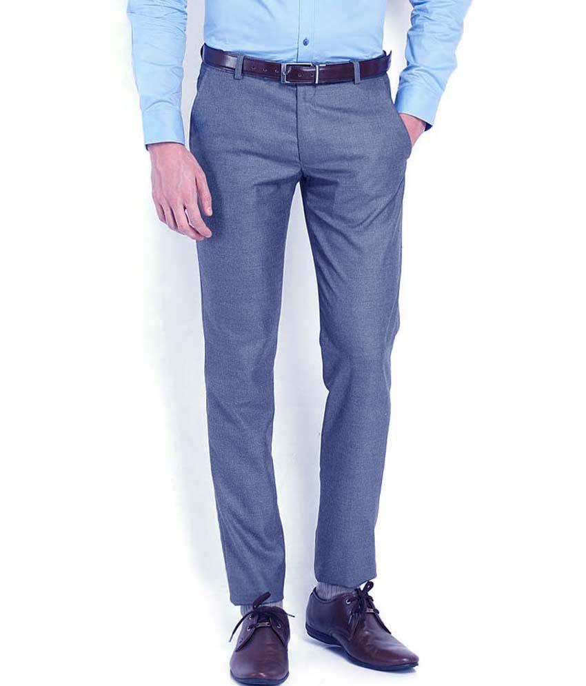 Ad & Av Premium Polyviscose Blue Formal Trouser