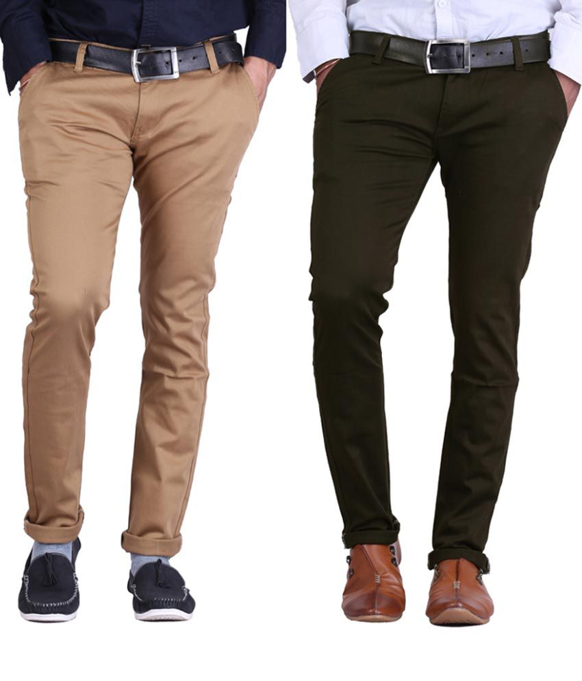 Haltung Khaki & Mehendi Cotton Blend Trousers