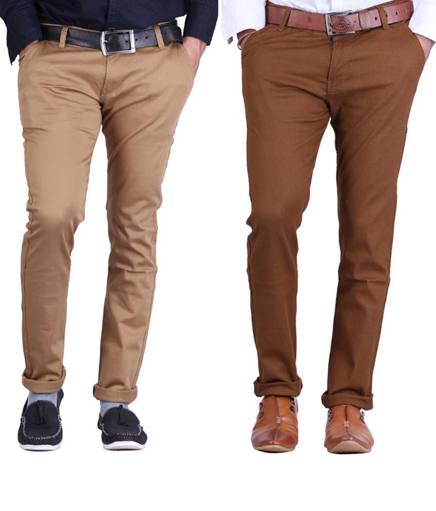 Haltung Khaki & Darkkhaki Cotton Blend Trousers