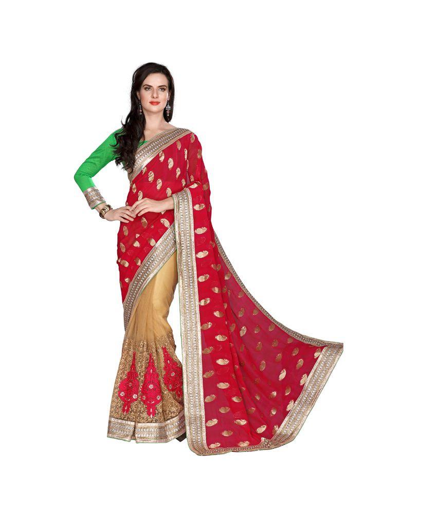Surbhi Collection Red Viscose Saree