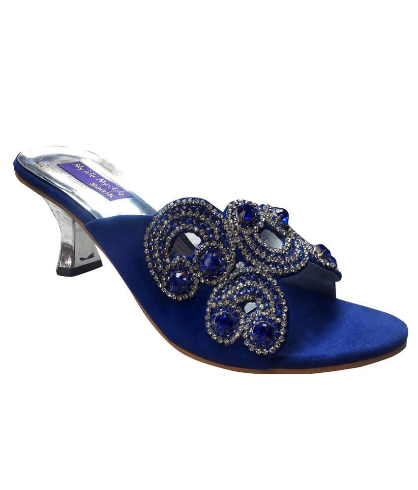 0a72be3f1a3d Vaishnovi Blue Fancy Sandals With Stone Work And Carved Heels Price in India-  Buy Vaishnovi Blue Fancy Sandals With Stone Work And Carved Heels Online at  ...