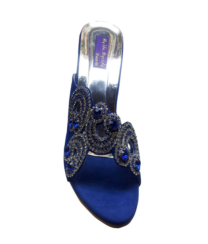 634bffc05545 Vaishnovi Blue Fancy Sandals With Stone Work And Carved Heels Price ...
